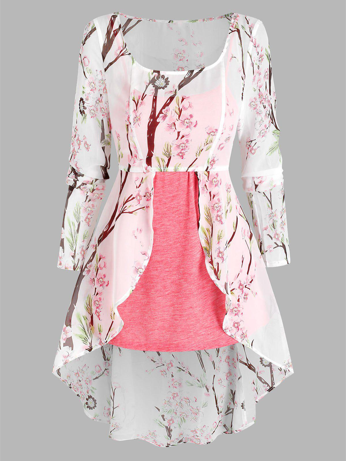 New Floral Print Lace-up High Low Chiffon Blouse and Heathered Tank Top