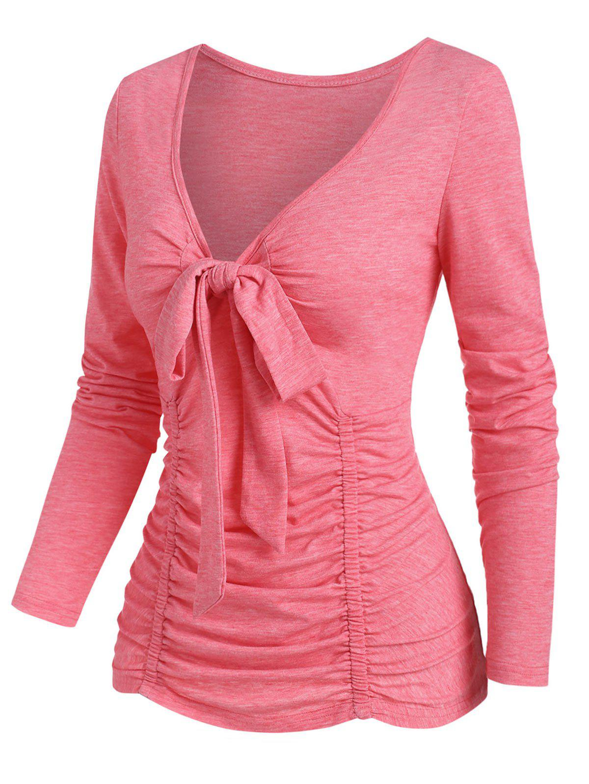 Outfits Plunging Bowknot Ruched T Shirt