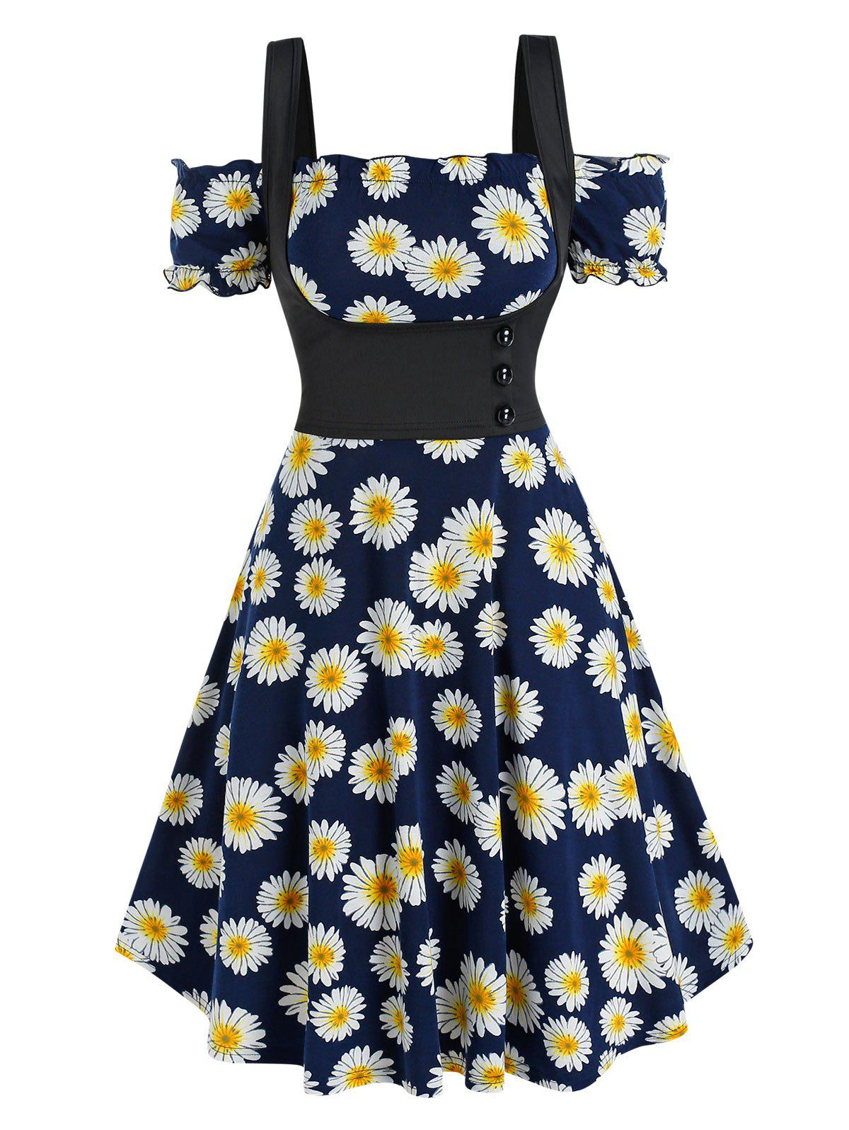 Sale Off The Shoulder Daisy Print Dress and Top Twinset