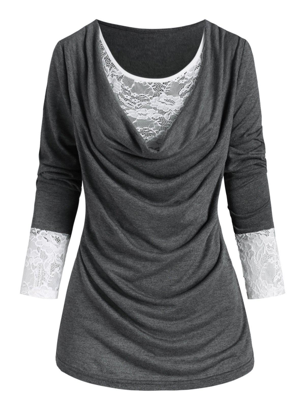 New Plus Size Cowl Front Lace Panel T Shirt