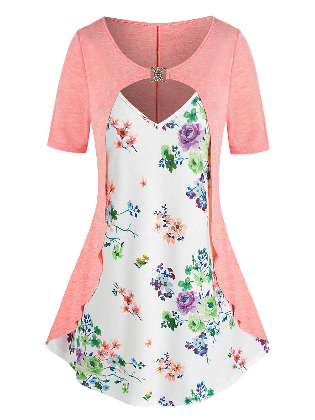 Discount Plus Size Flower Print Cutout D Rings 2 in 1 T Shirt