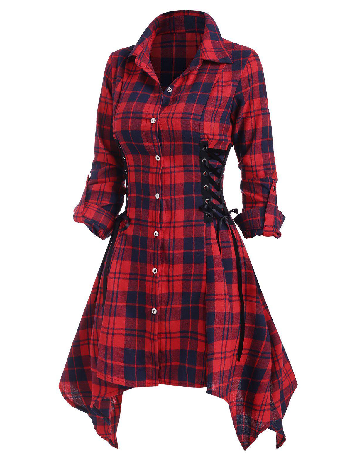 Affordable Lace Up Plaid Rolled Up Sleeve Handkerchief Shirt Dress