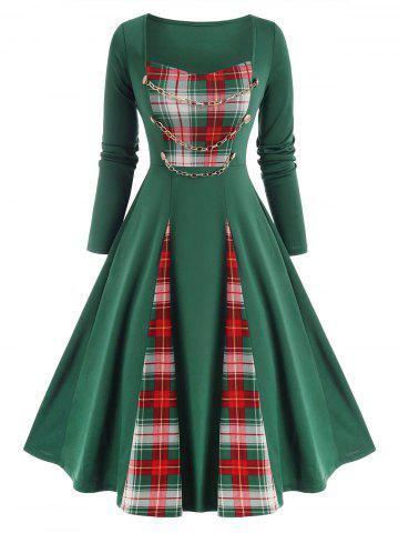 Checked Panel Chains Embellish Long Sleeve Dress
