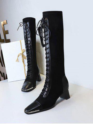 Lace Up Square Toe Patchwork Knee Length Boots - NATURAL BLACK - EU 40
