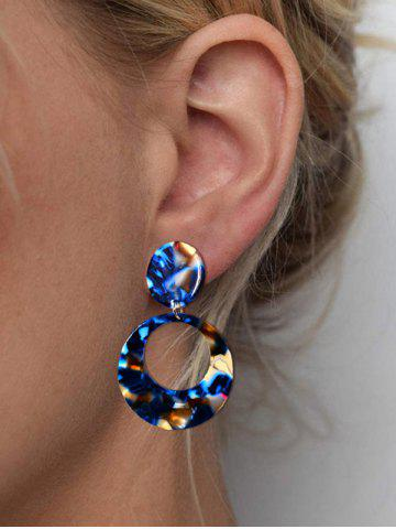 Round Hollow Colorblock Drop Earrings