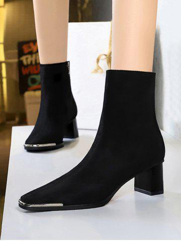 Block Heel Metal Square Toe Suede Boots - BLACK - EU 38