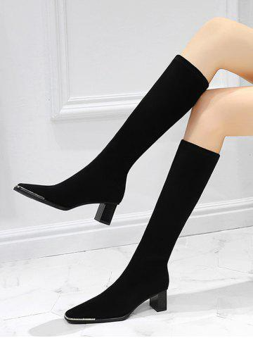 Chunky Heel Suede Knee Length Boots