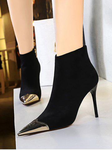 Metal Pointed Toe Suede Stiletto Heel Ankle Boots - NATURAL BLACK - EU 40