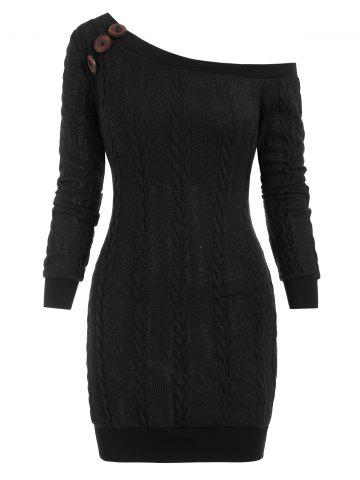 Cable Knit Skew Neck Sweater Dress - BLACK - 3XL