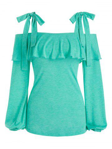 Tie Knot Cold Shoulder Heathered T-shirt - LIGHT GREEN - 3XL