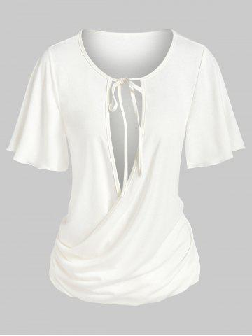 Tie Knot Cut Out Ruched Surplice T-shirt - WHITE - XXL