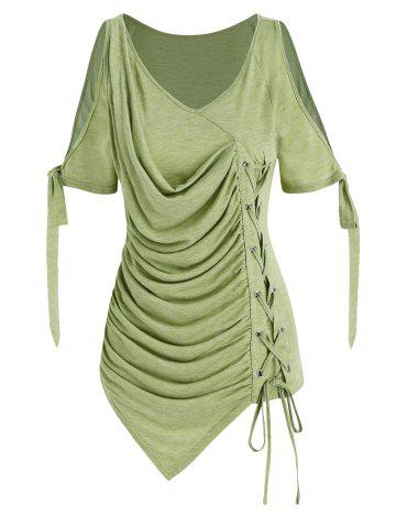 Cold Shoulder Lace-up Asymmetrical Ruched T-shirt - LIGHT GREEN - 2XL