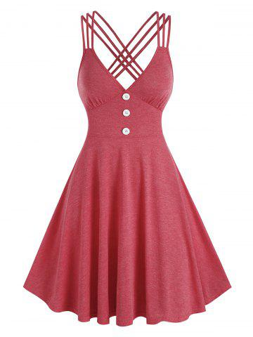 Strappy Mock Button Heathered Dress - RED - 3XL