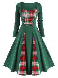 Checked Panel Chains Embellish Long Sleeve Dress -