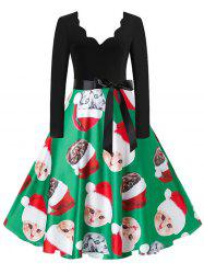 Santa Claus Cat Elk Christmas Scalloped Belted Dress -