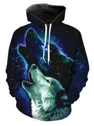 Front Pocket Galaxy Animal Print Hoodie -