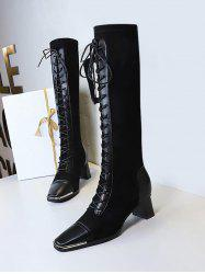 Lace Up Square Toe Patchwork Knee Length Boots -