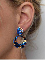Round Hollow Colorblock Drop Earrings -