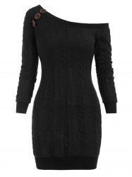 Cable Knit Skew Neck Sweater Dress -