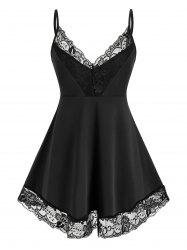 Plus Size Lace Insert Backless Cami Tank Top -