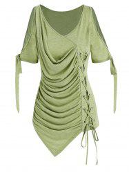 Cold Shoulder Lace-up Asymmetrical Ruched T-shirt -