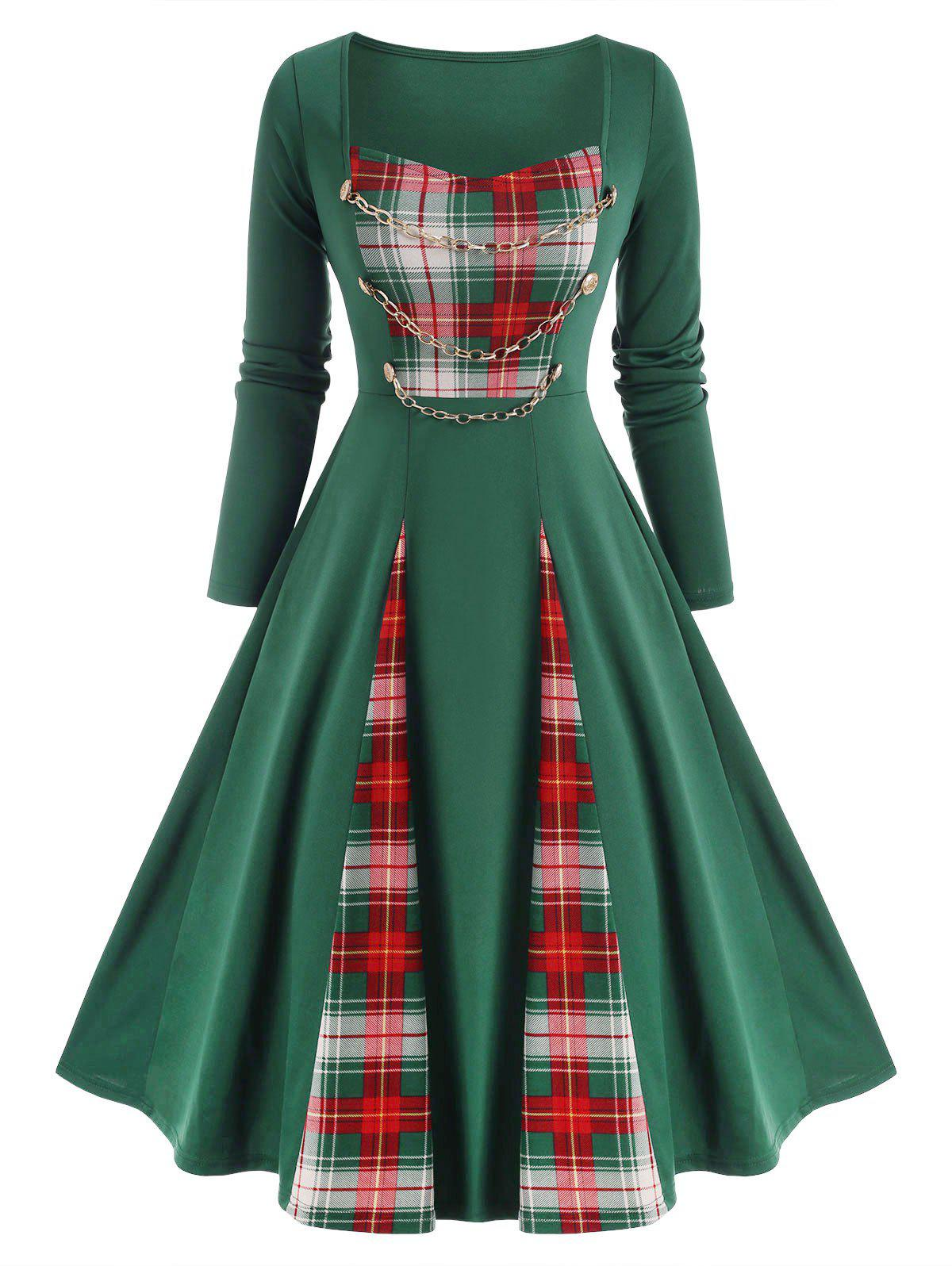 Fashion Checked Panel Chains Embellish Long Sleeve Dress