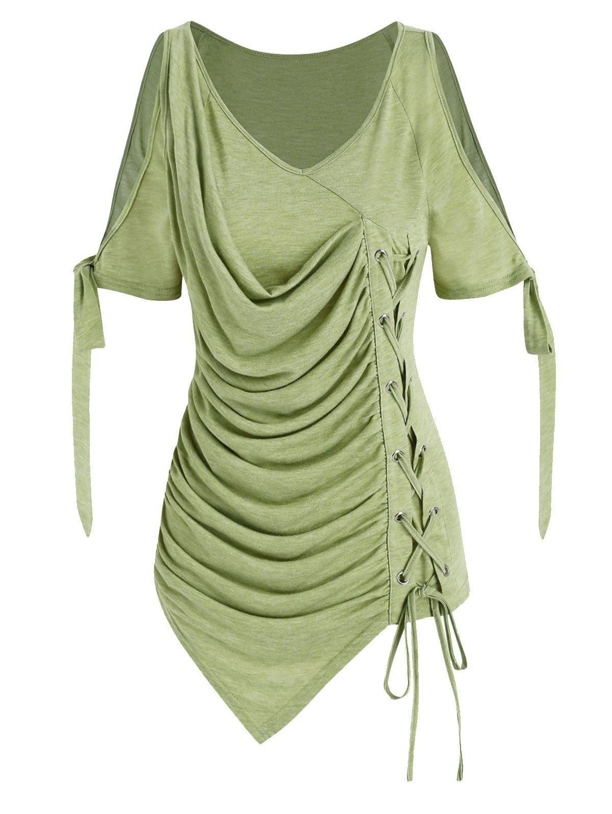 Affordable Cold Shoulder Lace-up Asymmetrical Ruched T-shirt