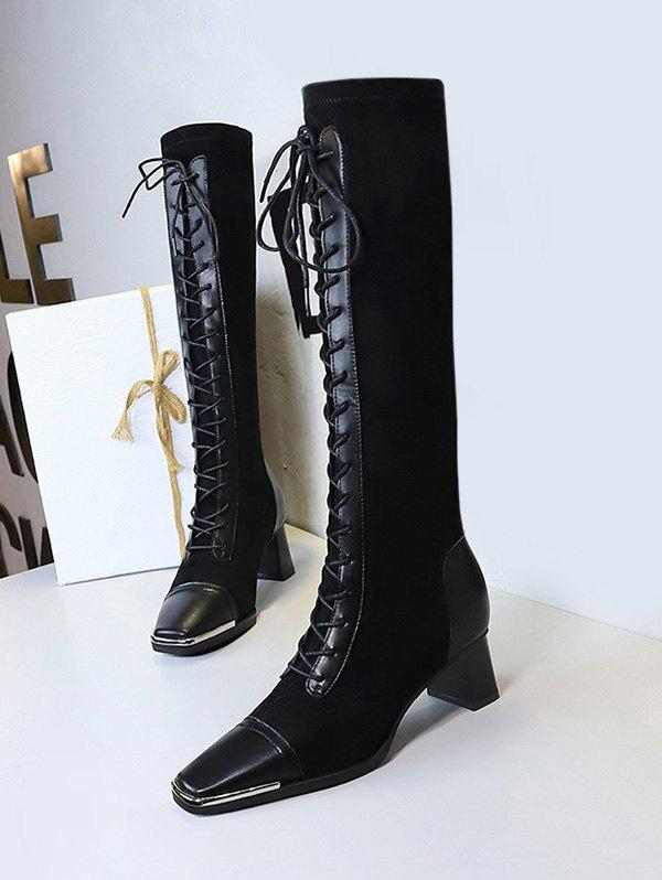 Online Lace Up Square Toe Patchwork Knee Length Boots