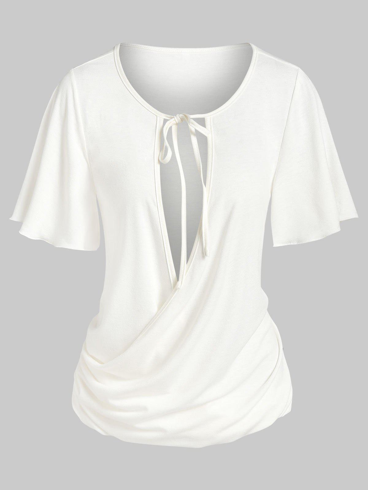 Outfit Tie Knot Cut Out Ruched Surplice T-shirt