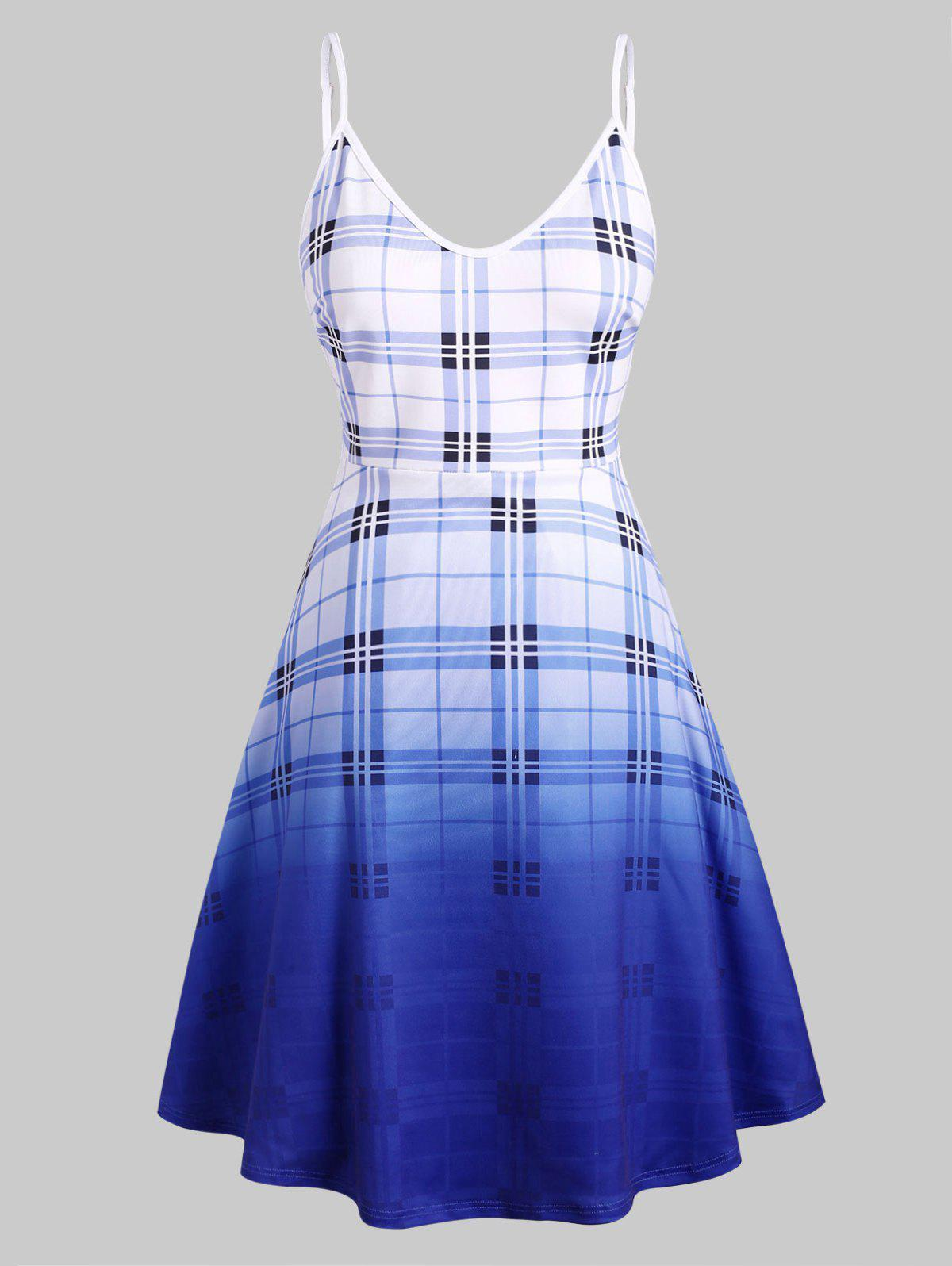 Fancy Cami Plaid Ombre Plus Size Dress