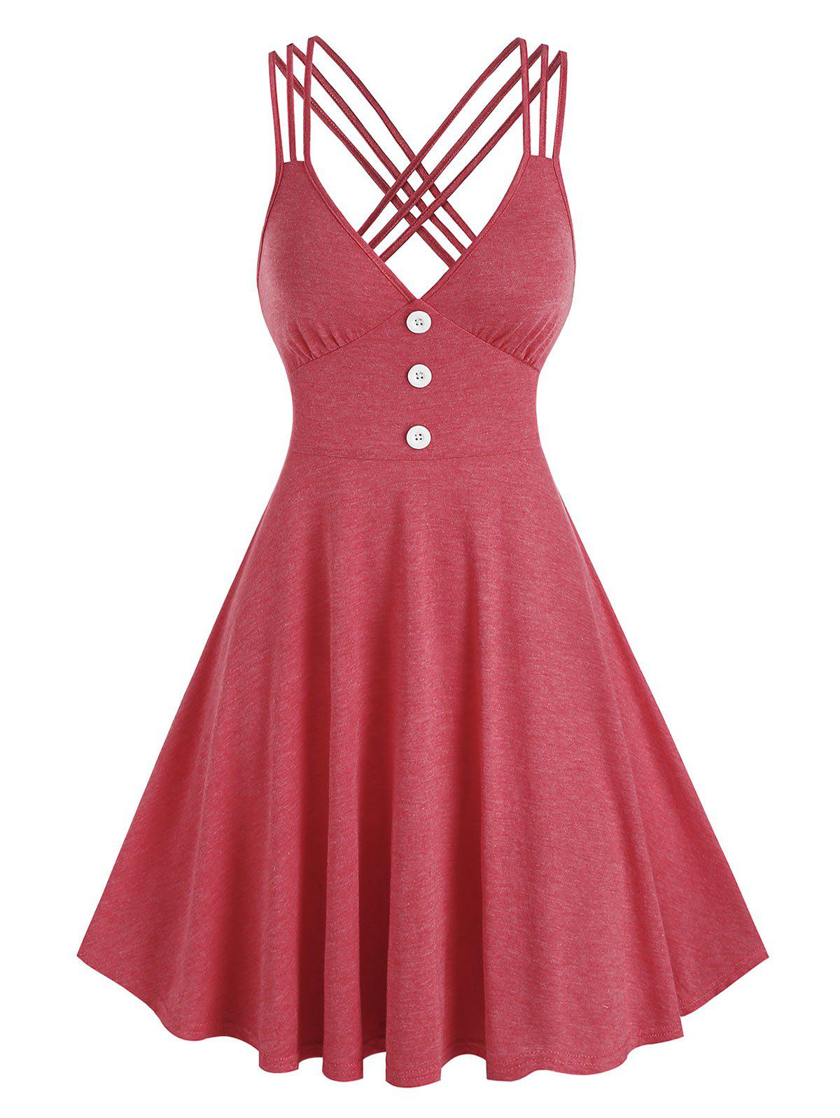 New Strappy Mock Button Heathered Dress