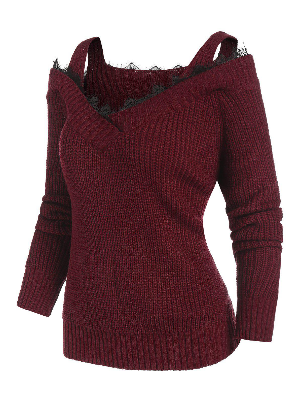Latest Plus Size Lace Insert Cold Shoulder Sweater