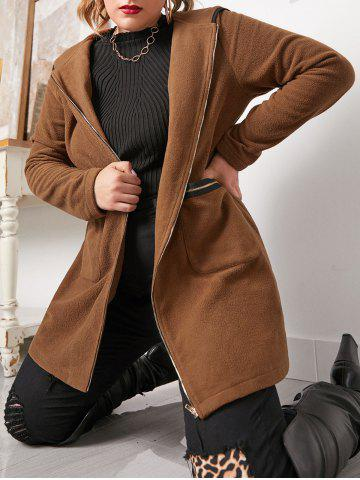 Plus Size Binding Hooded Zipper Pocket Coat - BROWN BEAR - 5X