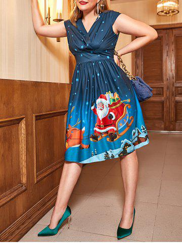 Plus Size Vintage Christmas Printed Pin Up Dress - DEEP BLUE - L