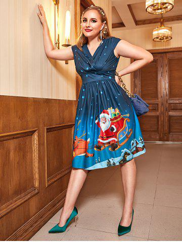 Plus Size Vintage Christmas Printed Pin Up Dress