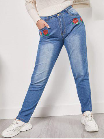 Mid Rise Rose Flower Plus Size Skinny Jeans