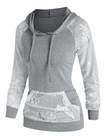 Lace Panel Kangaroo Pocket Hoodie - LIGHT GRAY - XXXL