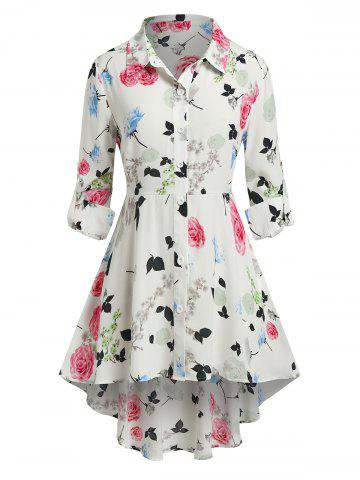 Plus Size Flower High Low Rolled Tab Sleeve Blouse - WHITE - 1X