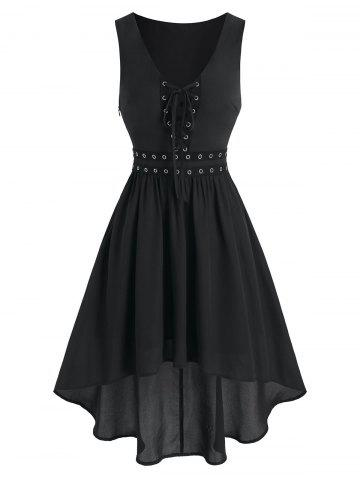 Lace Up Grommet High Low Dress - BLACK - 2XL