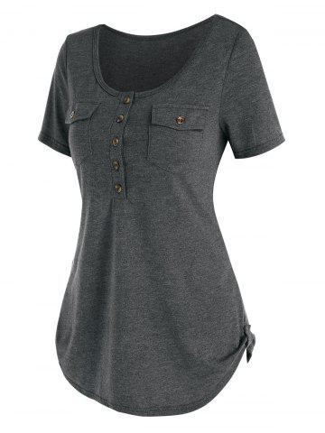 Buttons Pockets Casual Solid T Shirt - GRAY - XL
