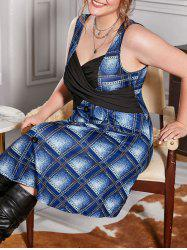 Plus Size Plaid Print Ruched Criss Cross Dress -