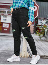 Contrast Distressed Raw Hem Plus Size Tapered Jeans -