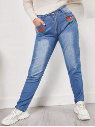 Mid Rise Rose Flower Plus Size Skinny Jeans -