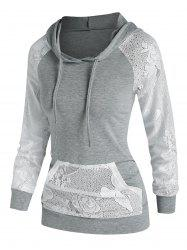 Lace Panel Kangaroo Pocket Hoodie -