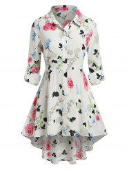 Plus Size Flower High Low Rolled Tab Sleeve Blouse -
