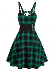 Strappy Plaid Fit and Flare Dress -