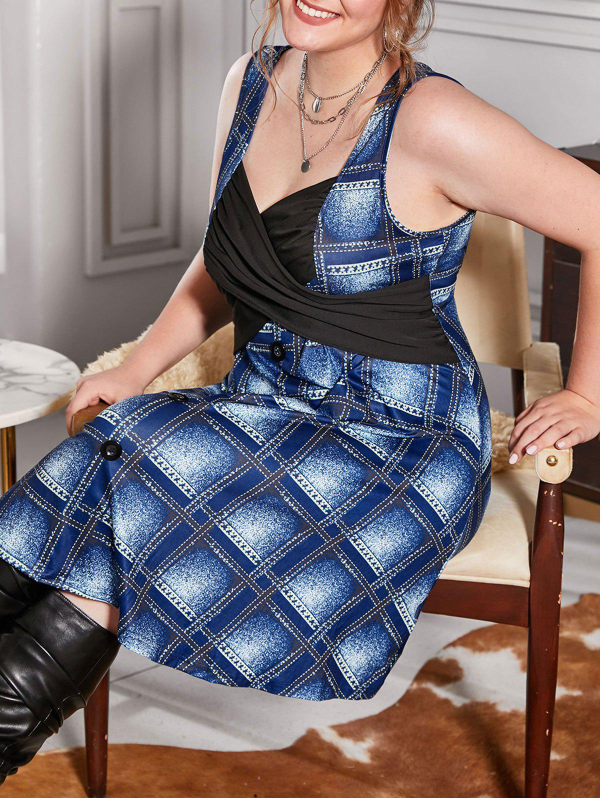 Fancy Plus Size Plaid Print Ruched Criss Cross Dress