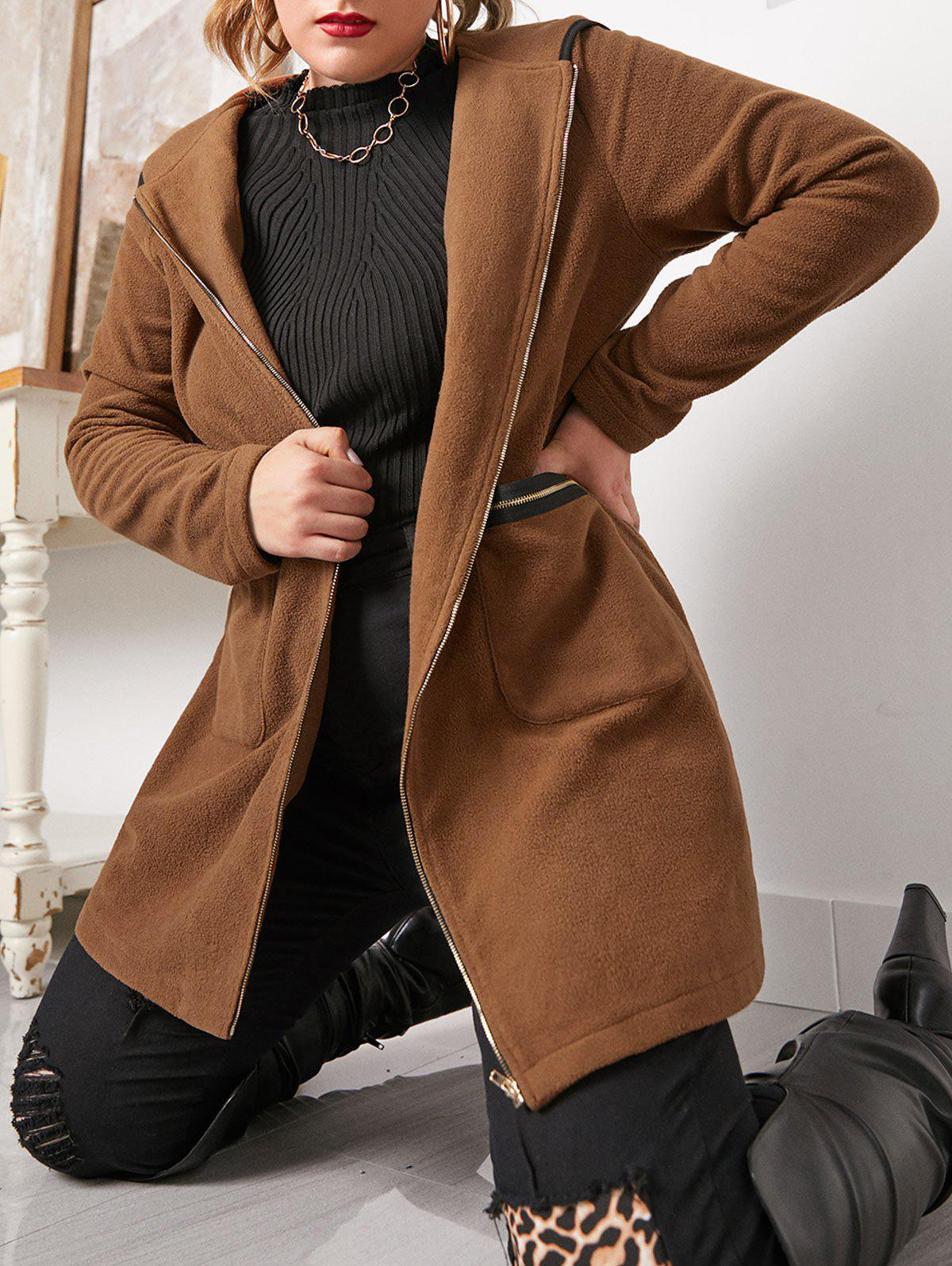 Outfits Plus Size Binding Hooded Zipper Pocket Coat