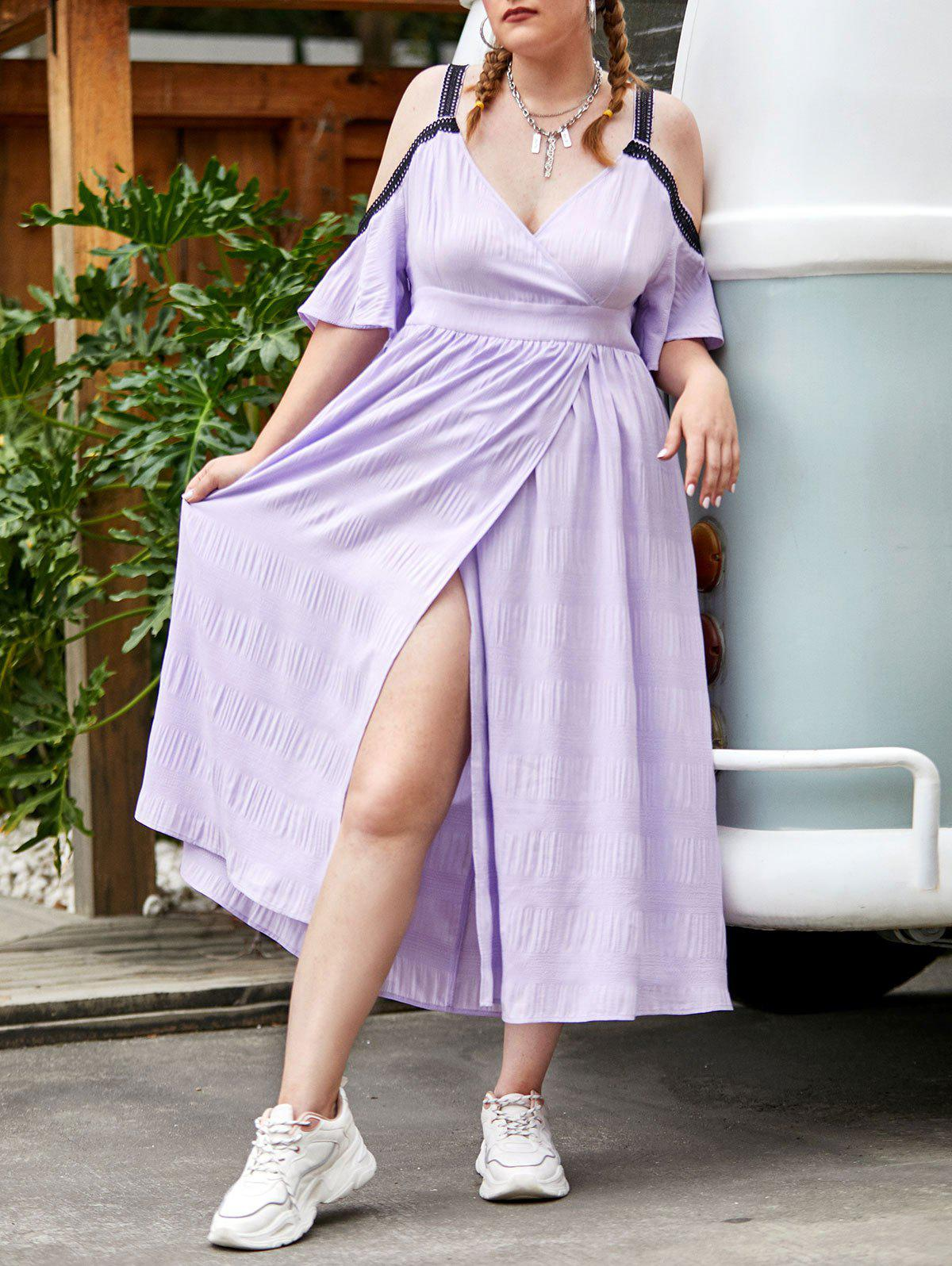 Outfits Plus Size Cold Shoulder High Slit Surplice Midi Dress