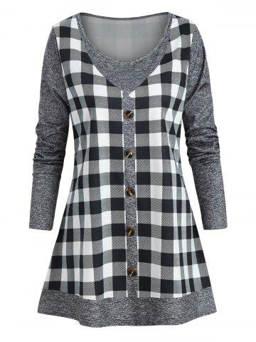 Plus Size Marled Checked Faux Twinset T Shirt - DARK GRAY - 5X
